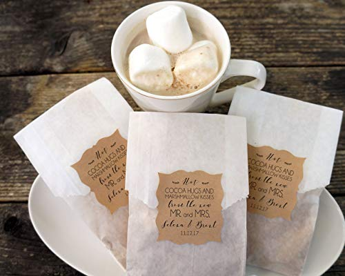 (Hot Cocoa Wedding Favor, Hot Chocolate and Marshmallow Bags, Personalized Kraft Paper Stickers, Fall Wedding, Winter Favor, Bridal Shower - Set of 20)