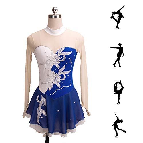 Dubaobao White Hand Skating Ragazze Costume Da Concorrenza Di ' Manica Pattinaggio Gratuito Figura Lunga Privato Abito Spettacolo Blu Dress Donna Supporto Ordine CnCSq41gr