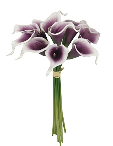Angel Isabella, LLC 20pc Set of Keepsake Artificial Real Touch Calla Lily with Small Bloom Perfect for Making Bouquet, Boutonniere,Corsage (Picasso Plum)