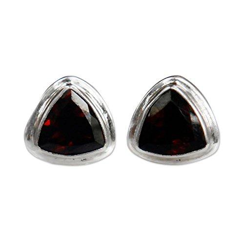 NOVICA Artisan Handmade .925 Sterling Silver Garnet Gemstone Triangular Stud Earrings, Fire'