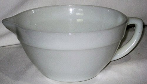 Vintage Fire King White 7 1/2 Inch Glass Mixing Batter Bowl Pour Spout Handled, #14 - Handled Batter Bowl