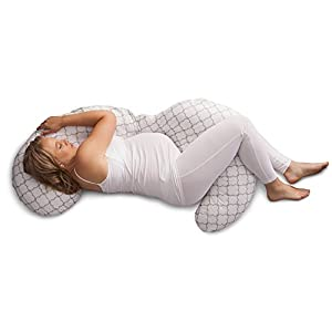 Boppy Slipcovered Pregnancy Body Pillow, Trellis, White