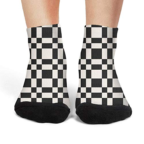 Women's Athletic Crew Socks checkerboard Abstract monochrome chequered Novelty Socks