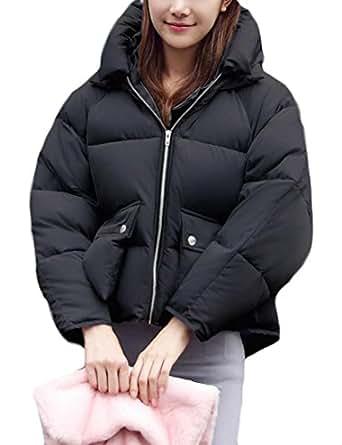 Fulok Women's Camo Cropped Hooded Short Parkas Bomber Down Puffer Coat Black XS