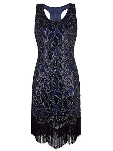 VIJIV 1920s Gastby Sequined Embellished Fringed Paisley Flapper Dress Blue -