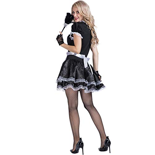 Women Leather French Maid Fancy Dress Costume Outfit Party Maidservant Apron New