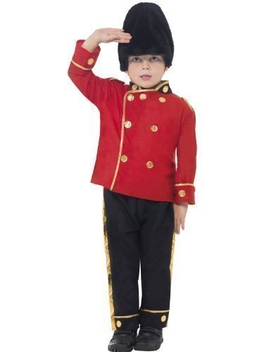 Boys Busby Buzby Guard Royal British London Soldier Military Uniform Age 7-9 Red -