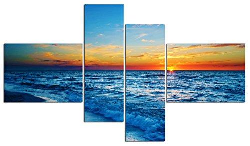 "Water Art Canvas Painting Framed Modern Wall Art Picture Landscape Ocean Seascape Ocean Sunset Sky Home Decor Living Room (48"" W x 28"" H (16""x12"" x2pcs, 8""x24"" x2pcs) Framed, Blue Orange)"