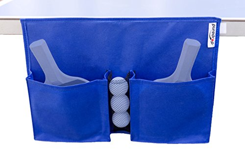 Puredrop Table Tennis Organizer Case: racket storage in two large pouches and balls in mesh net. Attaches with velcro adhesive strip. Can hold up to 4 paddles and 4 balls. Size of 15''x11''