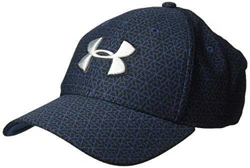 Under Armour Men's Printed Blitzing 3.0 Stretch Fit Cap, Academy (409)/Steel, Medium/Large -  Under Armour Accessories, 1305038-409-M/L