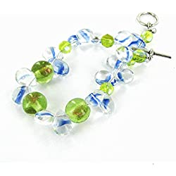 """Women Bracelet / Swirl clear drop, gold-dust green glass beads / Silver Toggle / Beads size approx.6 to 10mm / Bracelet Length approx. 7.25"""" / 1pc"""