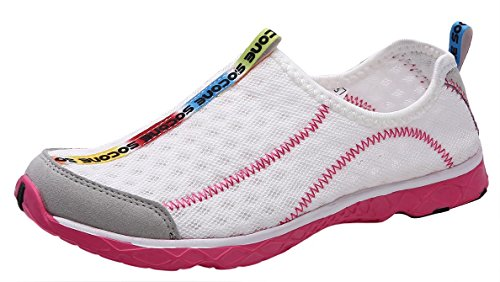 UJoowalk Womens Casual Lightweight Comfortable Quick Drying Althletic Walking Shoes Slip on Water Shoes (7 B(M) US, Pink)