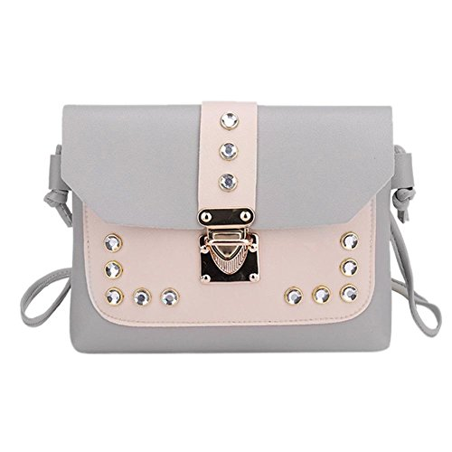 Casual Grey Lady Bags Leather Bags Shoulder Rivets Elegant Women Messenger Small Domybest 7PgwxqanEP