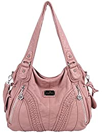 Angelkiss Women Top Handle Satchel Handbags Shoulder Bag Messenger Tote Washed Leather Purses Bag …