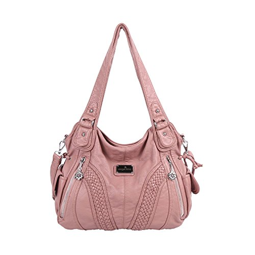 Angelkiss Women Top Handle Satchel Handbags Shoulder Bag Messenger Tote Washed Leather Purses Bag (Pink) ... (Bag Detail Flap Leather Satchel)