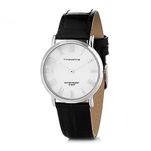 Timesshine Men's TSM1520 Classic Ultra Thin Shell Dial Quartz Watch with Genuine Leather Band