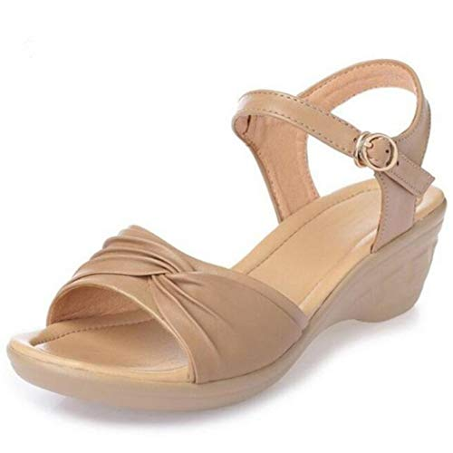 (ZKYSO Women's Casual Wedge Sandals Buckled Ankle Strap Comfortable Open Toe Mid Heels Platform Sandal Camel)