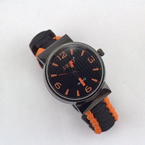 EDTara Outdoor Survival Watch multi - function compass flint umbrella bracelet with watch Simple design (Pathfinder Triple Sensor Sports Watch)