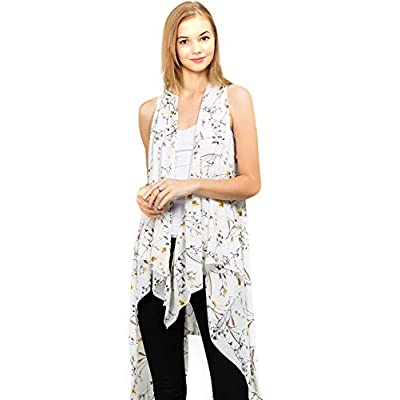 CCFW Floral Printed Open Front Drape Cardigan Scarf Vest, 527 Ivory, One Size at Women's Clothing store