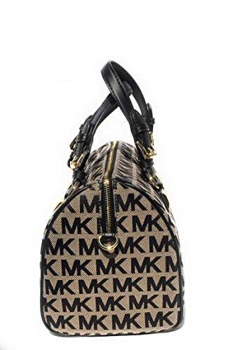 Michael Kors Women\u0027s Grayson Logo Jacquard Medium Satchel Bag  (Beige/Black): Handbags: Amazon.com