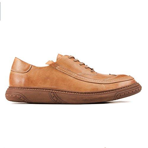 LEDLFIE Chaussures en Cuir Décontracté Formalwear Business Leather Retro Wild LightBrown MXOMm