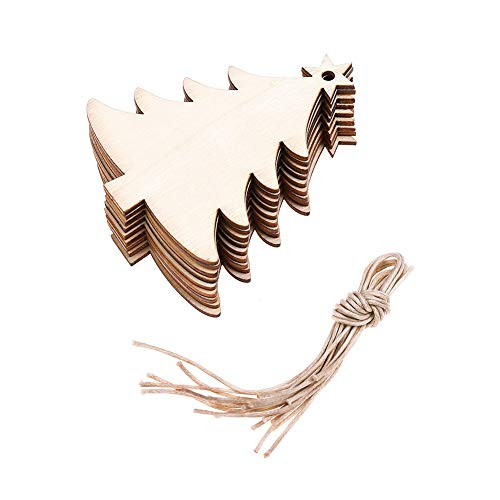 (DSSY 20 Pieces Unfinished Wooden Christmas Gift Tags Christmas Tree Ornaments for Christmas Decoration and DIY Craft Making(Tree))