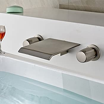 Rozin Brushed Nickel Wall Mounted Tub Faucet Waterfall Spout Double ...