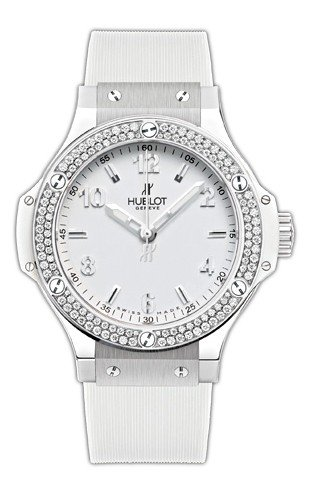 Hublot Big Bang White Dial Diamond Bezel White Rubber Unisex Watch 361.SE.2010.RW.1104