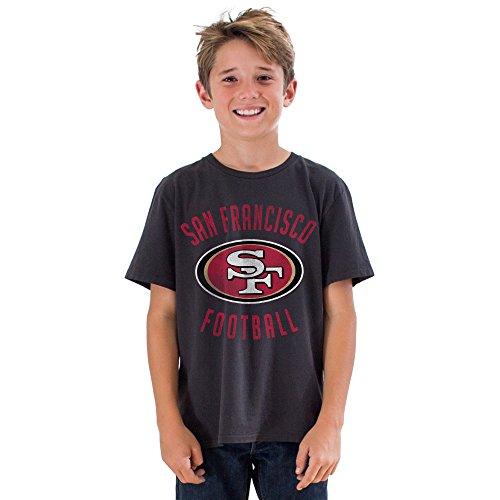 Junk Food NFL San Francisco 49ers Boys Kick Off Crew Short Sleeve Tee, Black Wash, Medium -
