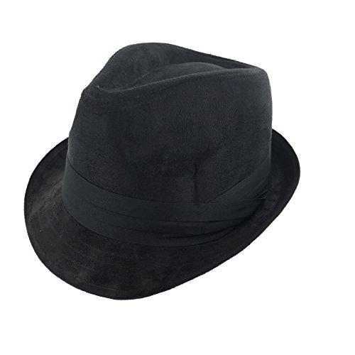Faddism London Classic 195 Retro Fashion Velvet Fedora Hat Black (Velvet Black Fedora Hat)