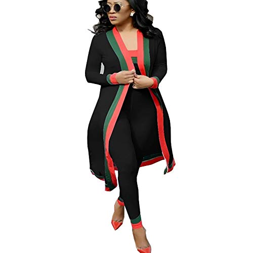 AEL Women 3 Piece Outfit Stripe Print Long Sleeve Open Front Kimono Cardigan and Bodycon High Waisted Long Pants Clubwear(Black,XL)