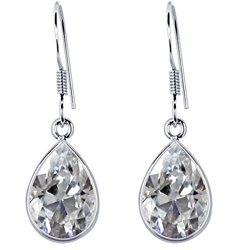 - 4.72 Ct Pear Cut Created White Sapphire 925 Sterling Silver Dangle Earrings For Women: Nickel Free Beautiful And Stylish Birthday Gift For Mother And Wife: Birthstone Month-September By Orchid Jewelry