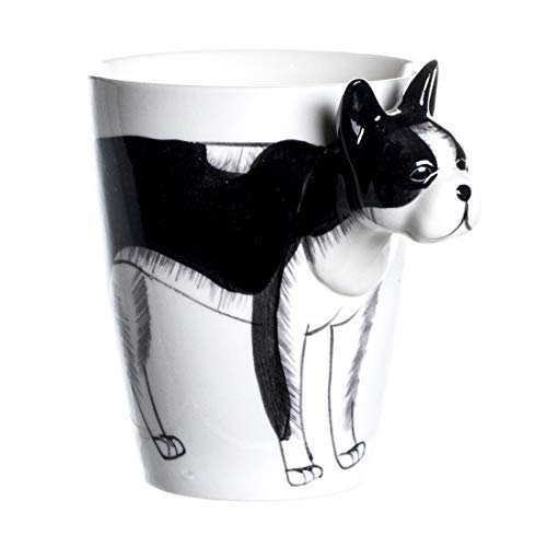 - Jimax 3D Handmade Hand Painted Creative Art Coffee Mug Ceramic Milk Cups Travel Mug Teacup 12.5 oz (Boston Terrier)