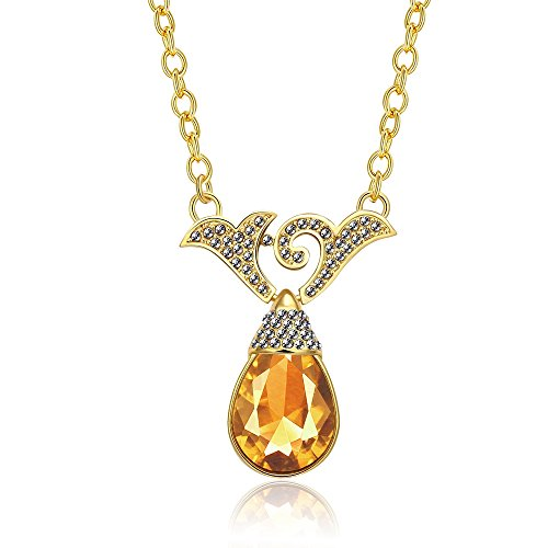 iCAREu Gold Plated Necklace with a Champagne Teardrop Zircon Pendant (Costumes Inc Irish Dance)