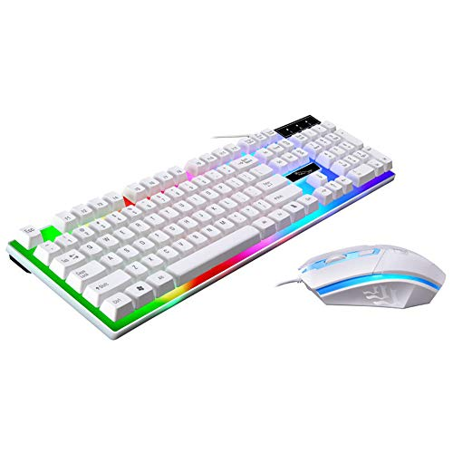 - Alimao Special Sales Colorful LED Cool Illuminated Backlit USB Wired PC Rainbow Gaming Keyboard Mouse Set (Large, White - 4)