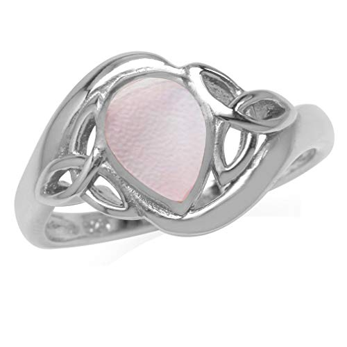 (Silvershake Pear Shape Pink Mother of Pearl White Gold Plated 925 Sterling Silver Triquetra Celtic Knot Ring Size 7)