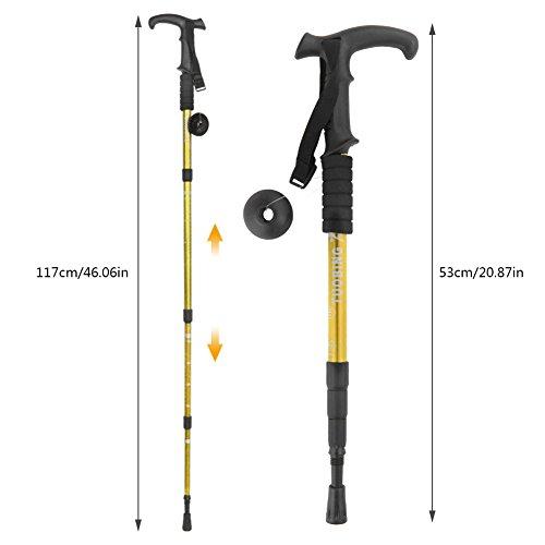 Hiking Stick (2 Packs) PAMISO T-shape Trekking Hiking Sticks Poles Alpenstock Adjustable telescoping Anti Shock Nordic Walking mountaineering (Gold)