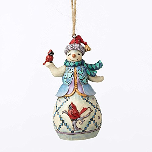 "Jim Shore Heartwood Creek Snowman with Cardinal Stone Resin Hanging Ornament, 4.5"" ()"