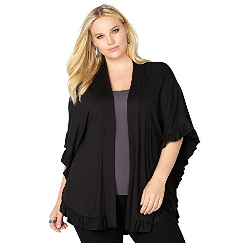 Avenue Women's Ruffle Trim Poncho Cardigan, 18/20 Black