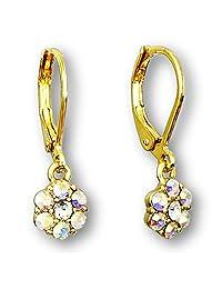 Flower Earrings For Girls | Color Crystal Flower Hoop Earrings For Kids |Gold Plated Leverback Earrings For Little Girls Quality Little Girl Earrings | Hypoallergenic Kids Earrings
