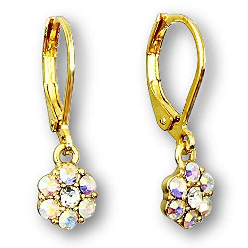 14k Gold Plated Flower Crystal Dangle Earrings for Women | Lever Back earrings for women | Crystal flower earrings for women: Blue Flower Earrings, Pink Flower Earrings and White Flower Earrings
