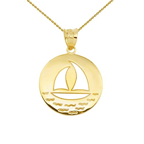 Gold Sailboat - 10k Gold Cut-Out Nautical Sailboat Silhouette Pendant Necklace, 18