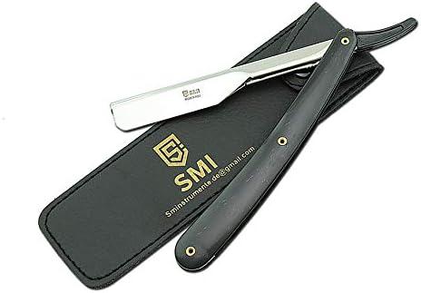 SMI - Barbero Navaja, navaja de afeitar de barbero tradicional profesional - sistema de reemplazo de 10 cuchillas - acero inoxidable de alta calidad: Amazon.es: Salud y cuidado personal