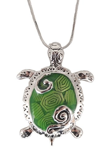 Large Turtle Pendant - DianaL Boutique Silver Tone Large Green Sea Turtle Pendant Necklace on 21
