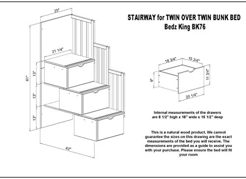 home, kitchen, furniture, bedroom furniture, beds, frames, bases,  beds 9 picture Bedz King Stairway Bunk Beds Twin over Twin in USA