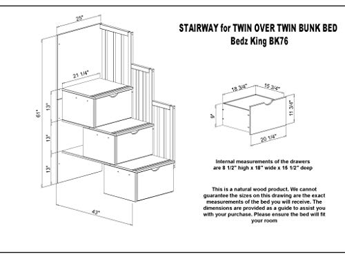 Bedz King Stairway Bunk Beds Twin over Twin with 3 Drawers in the Steps and 2 Under Bed Drawers, Cappuccino 6