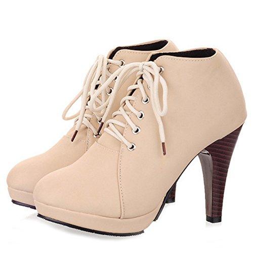 Coolcept Classique Hiver Automne Beige Lacets Hauts à Chaussures Bottines Talons Femmes rrUwxAq5fH