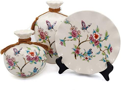 NEWQZ Classical Chinese Vases Set of 3 Piece for Living Room Decorations, Ceramic Vases for Home Decor, Porcelain Vase with Flowers Pattern Design