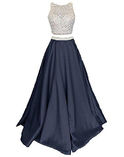 de Mujer Noche Vestidos Azul para Dos Satín Piezas Callmelady Fiesta Largos Vestidos de Marino P8TIBSWqwx