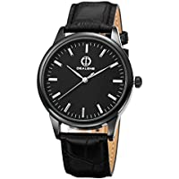 Stainless Steel Quartz Mens Womens Leather Wrist Watch Unisex Leather Watch Classic Business Casual Watch for Unisex 30M Waterproof (Black)